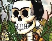 Frida Calavera with Flowers Print 5 x 7