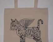 Flying Cat Canvas Shopping Tote Bag
