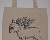 Flying French Bulldog Canvas Shopping Tote Bag