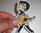 Young Elvis Calavera Die Cut Clear Vinyl Sticker