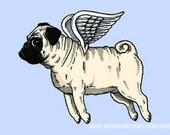 Flying Pug Print 5 x 7