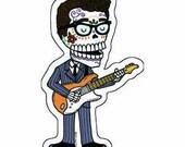 Buddy Holly Calavera Die Cut Vinyl Sticker