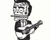 Johnny Cash Calavera Limited Edition Gocco Serigraph