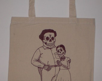 Frida and Diego Canvas Shopping Tote Bag