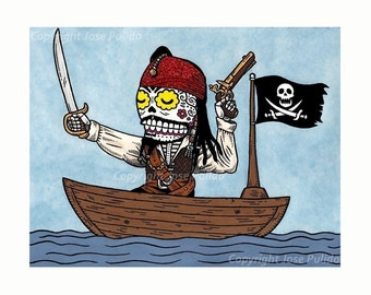 Pirate Calavera Print 8 x 10