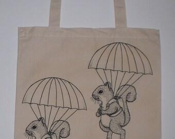 Parachuting Squirrels Canvas Shopping Tote Bag