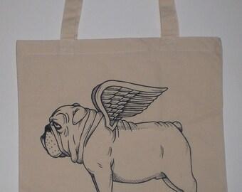 Flying Bulldog Canvas Shopping Tote Bag