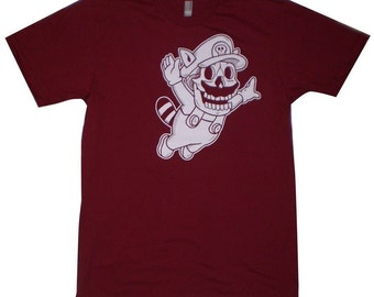 Super Mario Skull Men's T-Shirt Small, Medium, Large, X-Large in 6 Colors