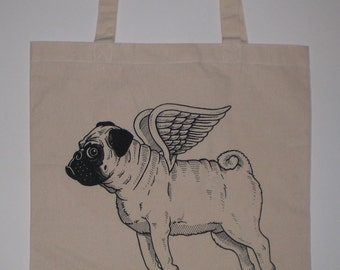 Flying Pug Canvas Shopping Tote Bag