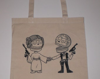 Star Couple Canvas Shopping Tote Bag