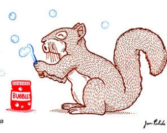 Squirrel and Bubbles Limited Edition Gocco Screenprint