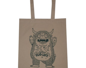 Hug Monster Canvas Shopping Tote Bag