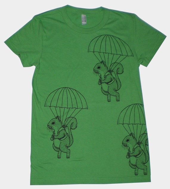 Parachuting Squirrels Womens T-Shirt Small, Medium, Large, XL in 8 colors