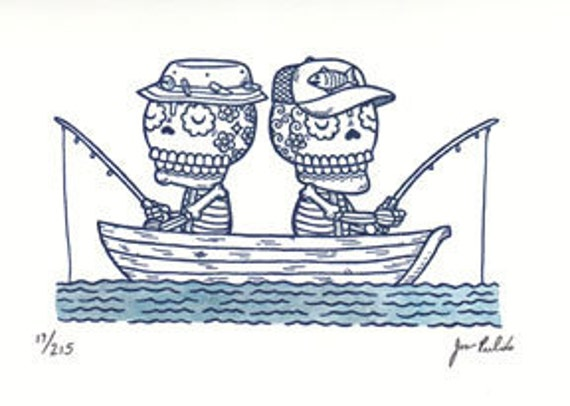 Fishing Calaveras Limited Edition Gocco Screenprint Day of the Dead Art