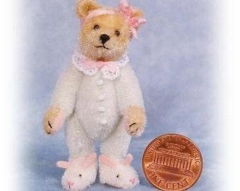 Bunny Slippers Bear Miniature Teddy Bear Kit - Pattern - by Emily Farmer