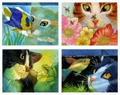 Cats, The Curious Cat Notecard Collection 1, 8 Cards and color coordinating envelopes
