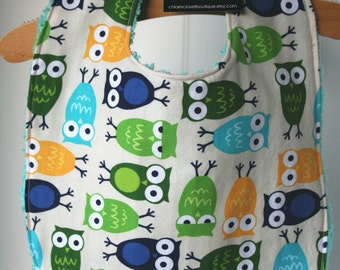 Baby Bib...Urban Owls...blue