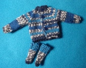 Blythe Sporty Blue and Gray  Wool Sweater and Socks