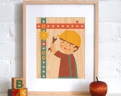 UNFRAMED 8x10 Builder Boy Print on Wood