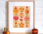 UNFRAMED 11X14 Ladybug Print on Wood