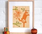 UNFRAMED 8x10 Monkey Baby Print on Wood