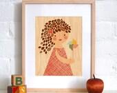 UNFRAMED 8X10 Pinwheel Girl Print on Wood
