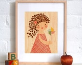 FRAMED 11x14 Pinwheel Girl Print on Wood