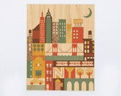 UNFRAMED New York Print on Wood - 8x10