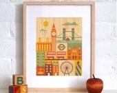 FRAMED 11x14 London City Print on Wood