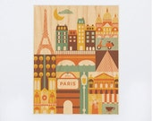 UNFRAMED 11x14 Paris City Print on Wood
