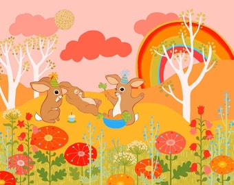 Baby Bunny Birthday print Wall art