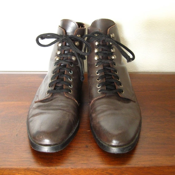 vintage brown leather flat lace up ankle boots sz 7 5