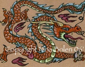 ACEO ATC  or Poster Size Photo Print Chinese Dragon Print Original Fantasy Art by Nina Bolen