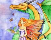 Fantasy Art Print Photo Print Dragon and Fairy The Dragon Fairy Godmother Original Fantasy Watercolor Painting by Nina Bolen
