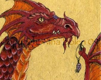 ACEO ATC Poster Photo Print Red Dragon Print Original Fantasy Art by Nina Bolen