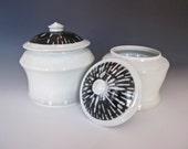 SALE-Black and White Porcelain Jars (ready to ship)- sugar jar, coffee storage, small cookie jar