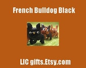 Black FRENCH BULLDOG Leather Dog Keychain VANCA Craft Petit Mini Mascot Key Ring Zipper Pull Japanese Artisan