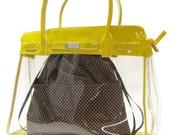 D2 Chocolate Brown Dots - Japanese KINCHAKU - purse organizer insert / Lunch Bag TESAGE by Yukiko Sato New York
