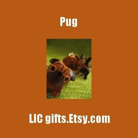 3D PUG Leather Dog Key Chains VANCA Craft Petit Mini Mascot Handcrafted by Japanese Artisan