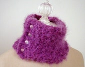 Soft Mulberry Hand Knit Neckwarmer / LIMITED return