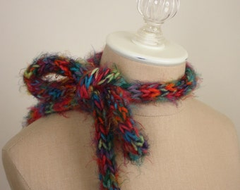 Hand Knit Scarf / Neon Bright Rainbow Colors / Super Soft Neckbow