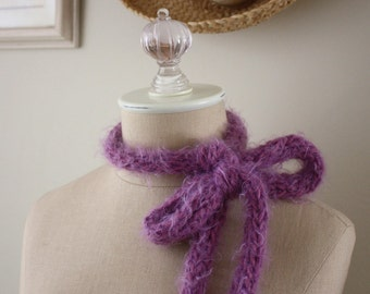 Hand Knit Scarf / Mulberry Soft Plum / Neckbow Lariat / Soft Fuzzy Faux Cashmere / SALE