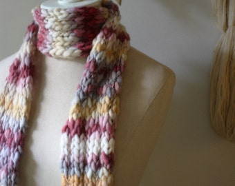 Hand Knit Scarf / Cranberry Grey Gold White Handspun Merino Wool / Textured Soft Autumn Fall / SALE