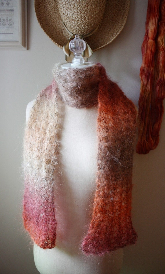 Hand Knit Mohair Scarf - Autumn Leaves
