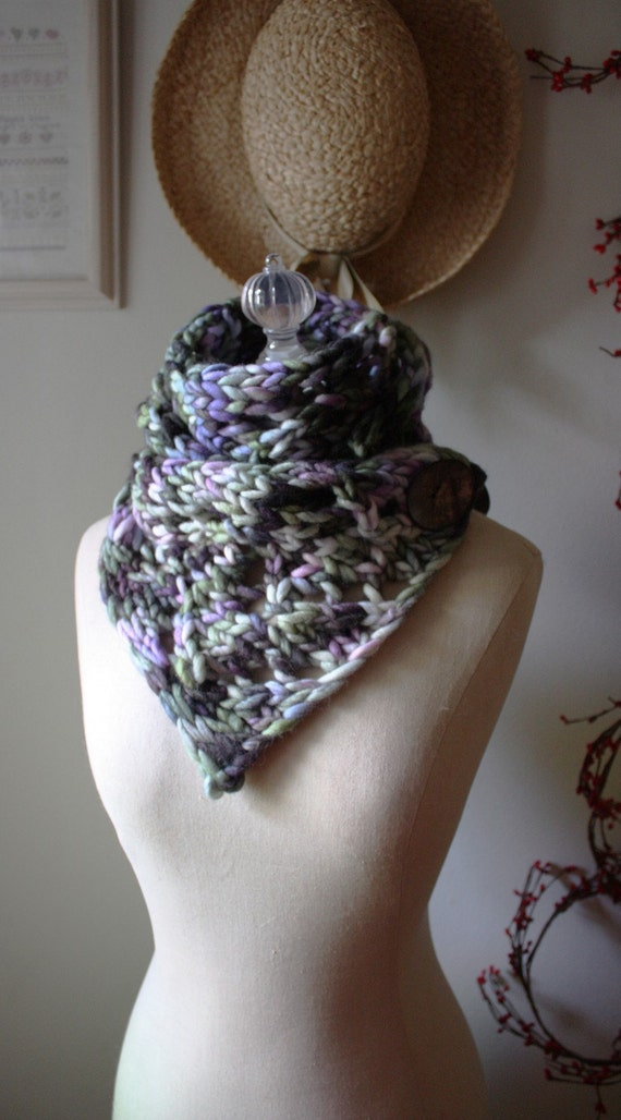 RESERVED Oversized Cowl Scarf / Plum Green / Hand Knit Chunky Lace