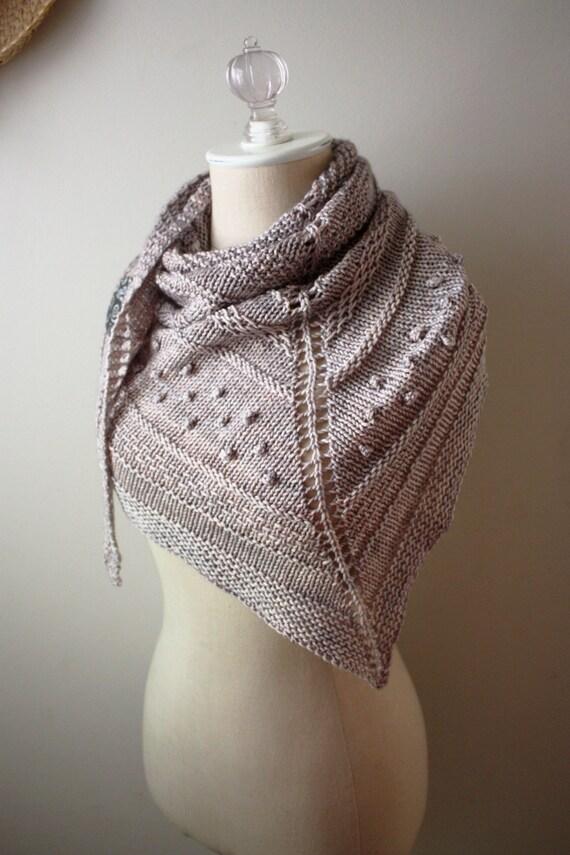 Chunky Textured Hand Knit Shawl in Mocha Pale Mushroom Grey Neutral