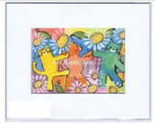 CAT CONGO cats dancing original print NETTIE PRICE sparkling art