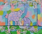 Elephants Mother and Child  sparkling print children artwork NETTIE PRICE