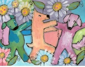 Dancing Dogs Crazy Daisies sparkling print  14 x 11