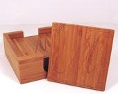 Custom Personalized Bamboo Wood Monogram Initial Coasters